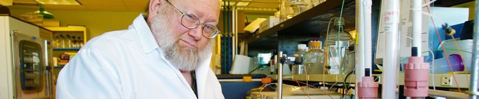 An older, bearded scientist in a laboratory